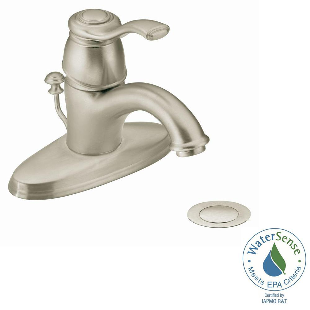 MOEN Kingsley Single Hole 1 Handle Bathroom Faucet In Brushed Nickel