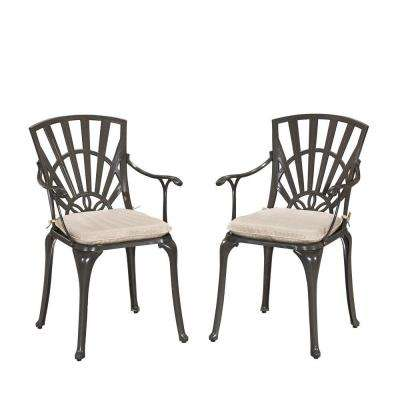 Largo Taupe All-Weather Patio Dining Chair Pair with Natural Cushions