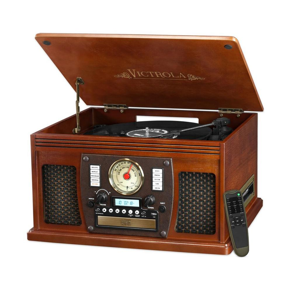 7-in-1 Bluetooth Record Player with USB Recording in Mahogany The Victrola 7-in-1 wooden record player combines modern technology with a nostalgic design. This model is ideal for people who value the original quality of vinyl, but also enjoy the latest in audio technology. This model goes great with any decor whether traditional or contemporary.