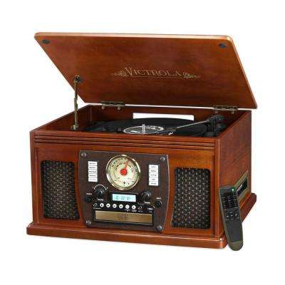 7-in-1 Bluetooth Record Player with USB Recording in Mahogany