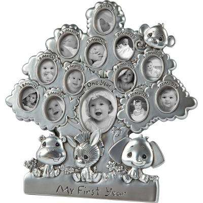 Precious Paws 1 in. x .75 in. My First Year Silver Resin Picture Frame Collage