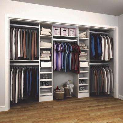 15 in. D x 165 in. W x 84 in. H Melamine Reach-In Closet System Kit in White