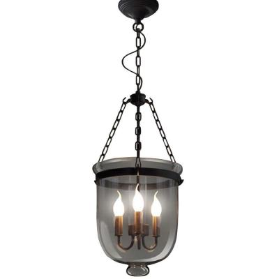 Edison Vashti Collection 3-Light Black Clear Glass Indoor Chandelier