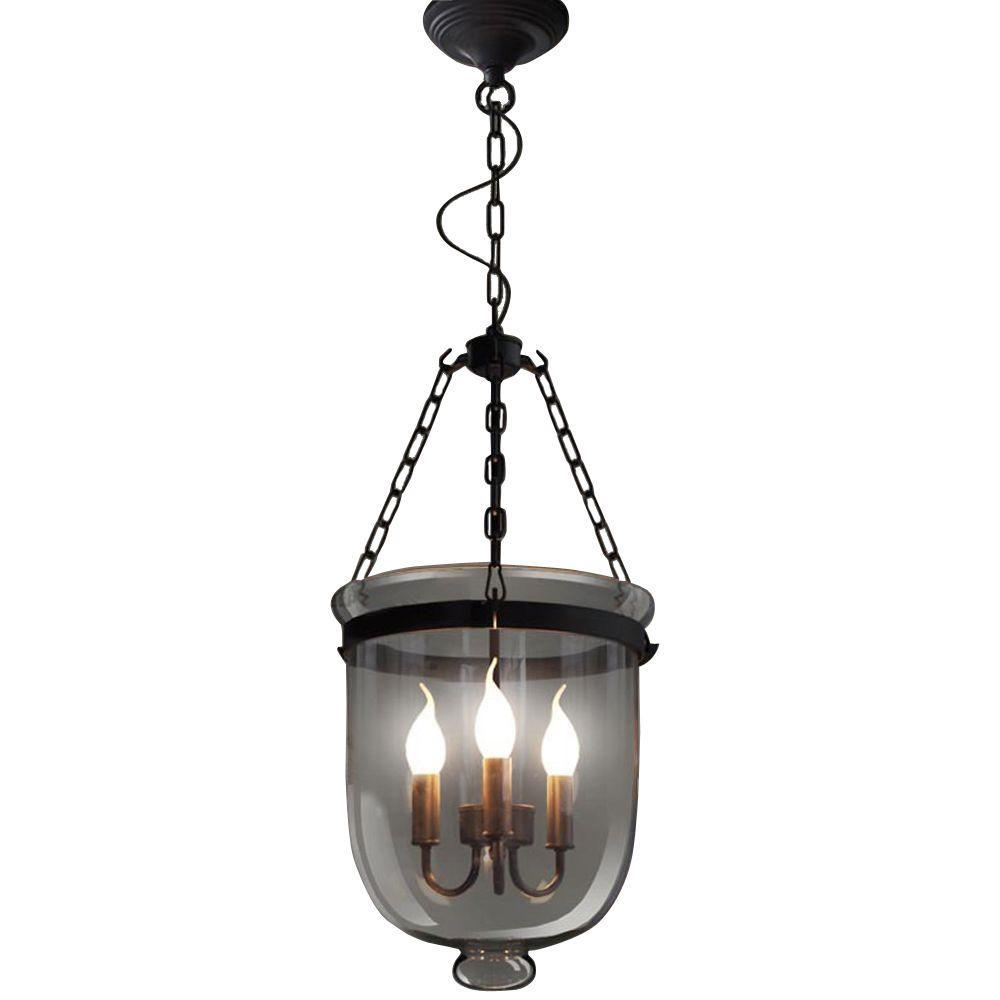 Edison Vashti Collection 3-Light Black Clear Glass Indoor Chandelier