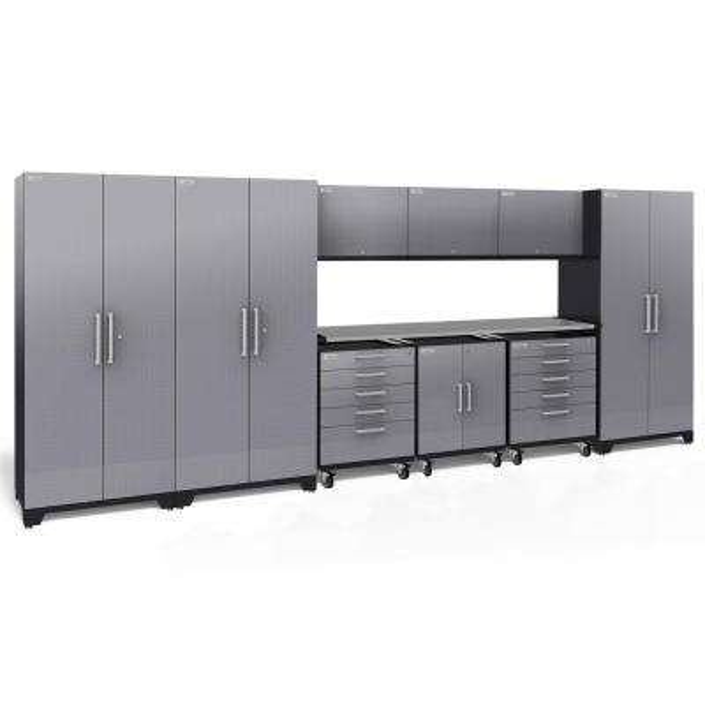 Performance Plus Diamond Plate 2.0 80 in. H x 197 in. W x 24 in. D Garage Cabinet Set in Silver (10-Piece)