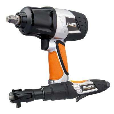 Pneumatic 1/2 in. Impact Wrench and 3/8 in. Ratchet Wrench Kit with 10-Piece Socket Set and In-Line Oiler