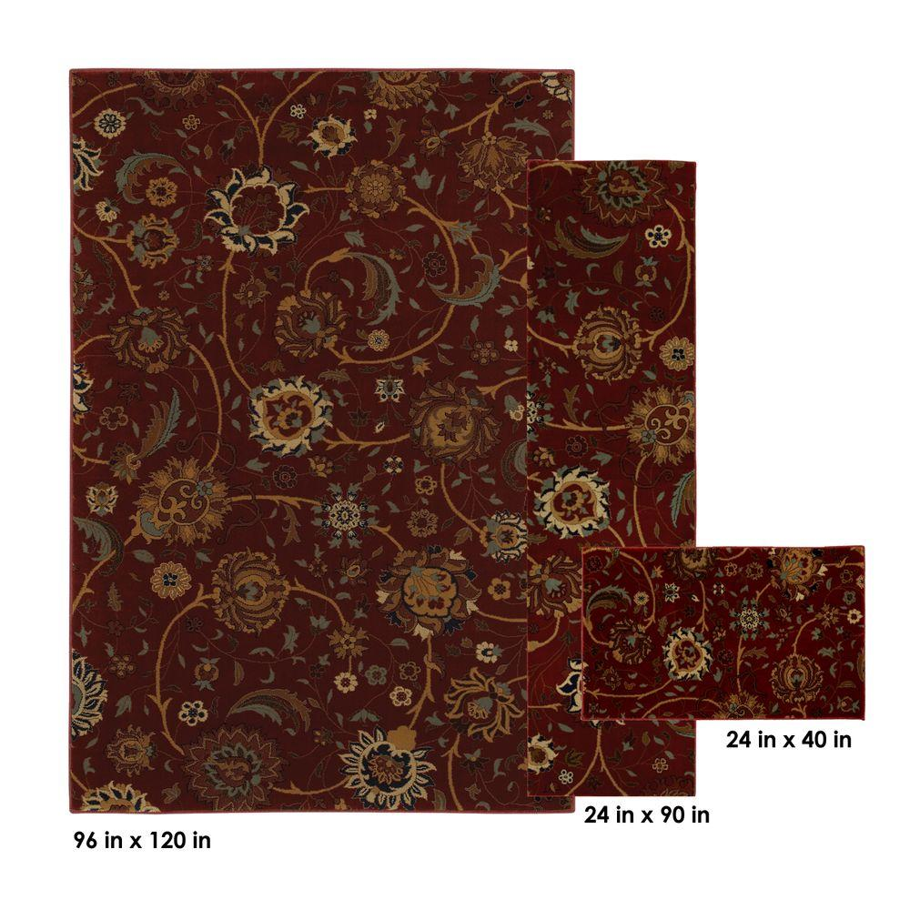Mohawk Home Cordella Crimson 8 ft. x 10 ft. 3-Piece Rug Set