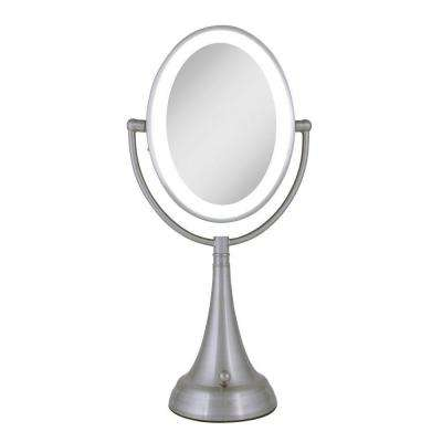 9.5 in. x 19 in. LED Lighted Oval Vanity Makeup Mirror in Satin Nickel