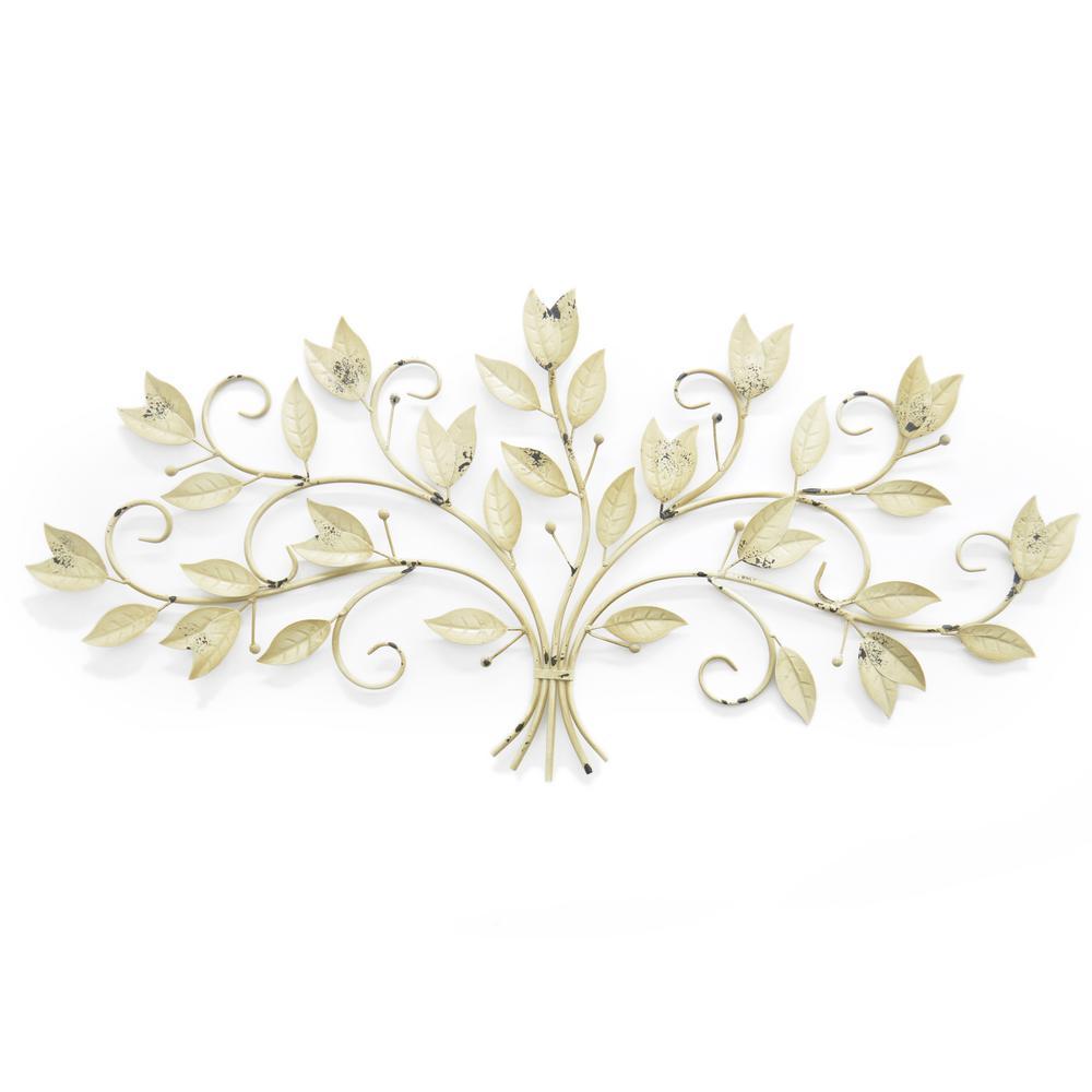 Metal Ivory Leaf Wall Art