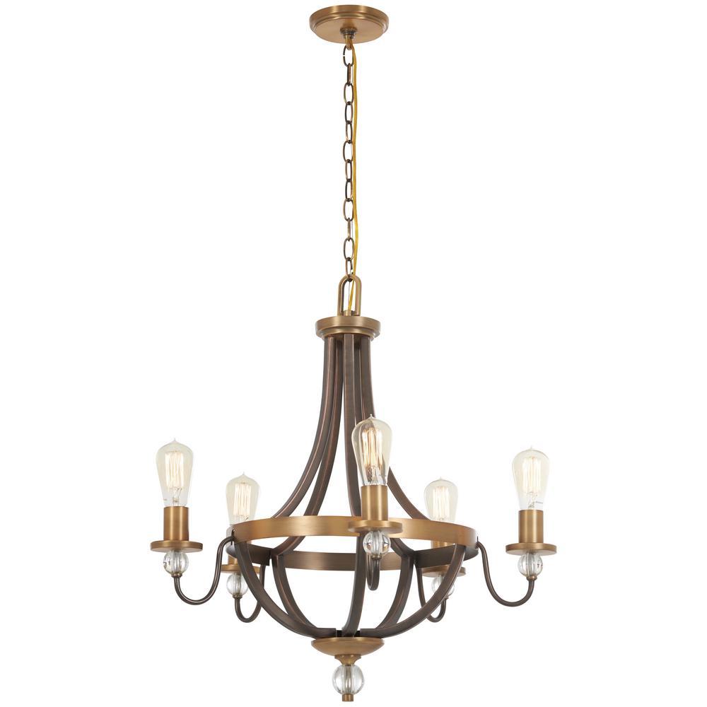 Safra 5-Light Harvard Court Bronze with Natural Brushed Brass Chandelier