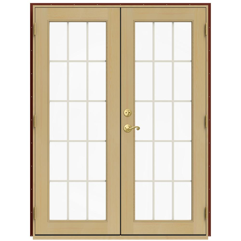 Jeld wen 59 5 in x 79 5 in w 2500 mesa red left hand for Wood french patio doors