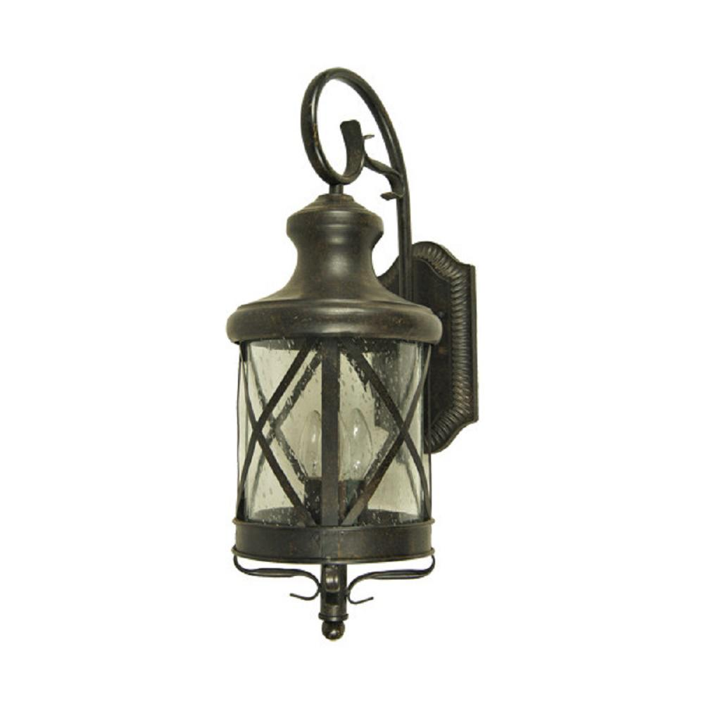 Y decor taysom 4 light oil rubbed bronze outdoor wall mount lantern el5364orb l the home depot for Exterior wall mounted lanterns