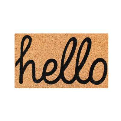 A1HC First Impression fade resistant HELLO 24 in. x 36 in. Flocked Coir Door Mat