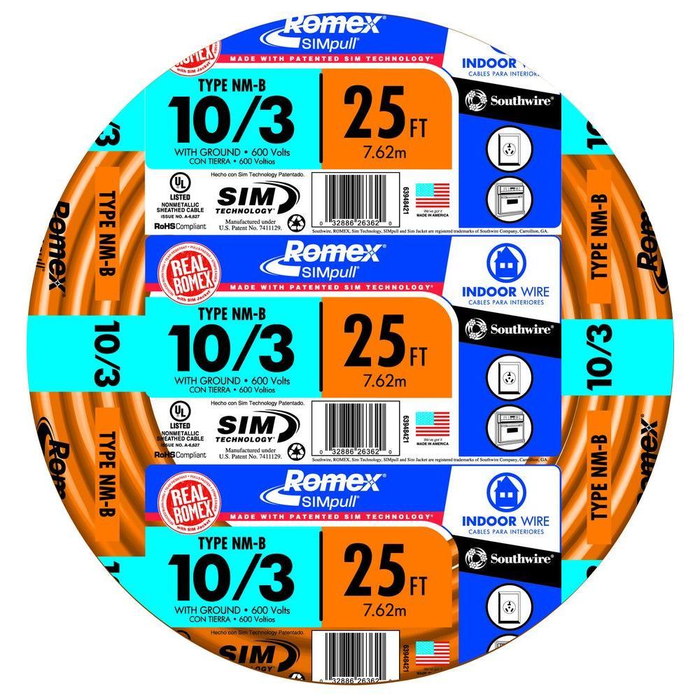 25 ft. 10/3 Solid Romex SIMpull CU NM-B W/G Wire
