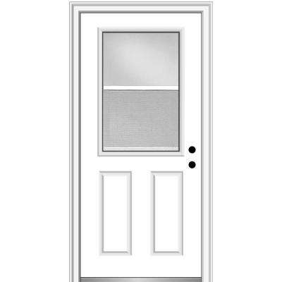 32 in. x 80 in. Classic Left-Hand Inswing 1/2-Lite Clear Vented Primed Steel Prehung Front Door on 4-9/16 in. Frame