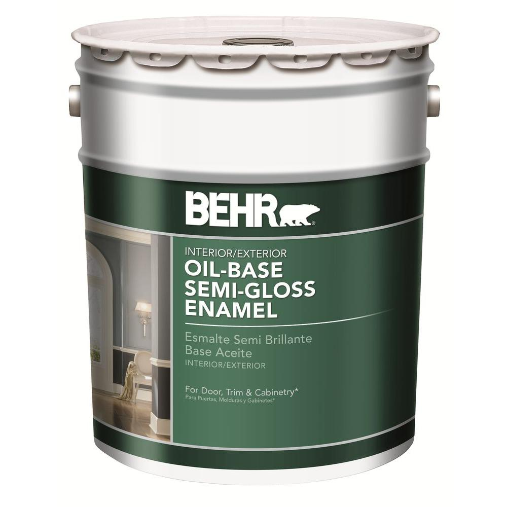 Behr 5 Gal White Oil Based Semi Gloss Enamel Paint