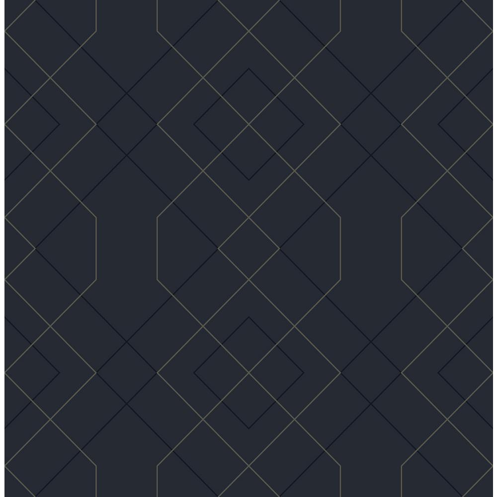 Ballard Indigo Geometric Indigo Paper Strippable Roll (Covers 56.4 sq. ft.)