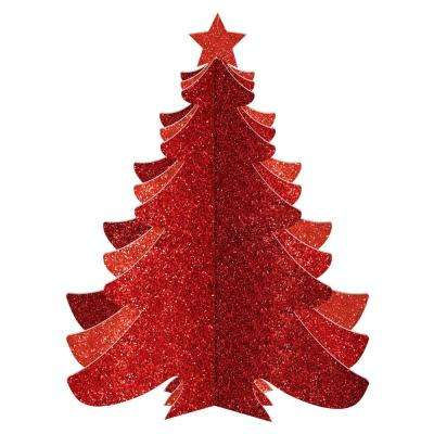 10.25 in. Christmas 3D Red Glitter Tree Decorations (3-Pack)