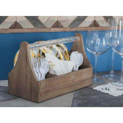 12 in. x 5 in. x 7 in. Wood and Acrylic ToolBox Wine Holder