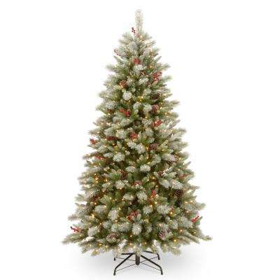 7-1/2 ft. Feel Real Snowy Bristle Berry Hinged Tree with Red Berries, Mixed Cones and 700 Dual Color LED Lights and Pow