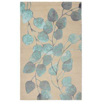 Ficus Modern Floral Turquoise 5 ft. x 7 ft.  Area Rug