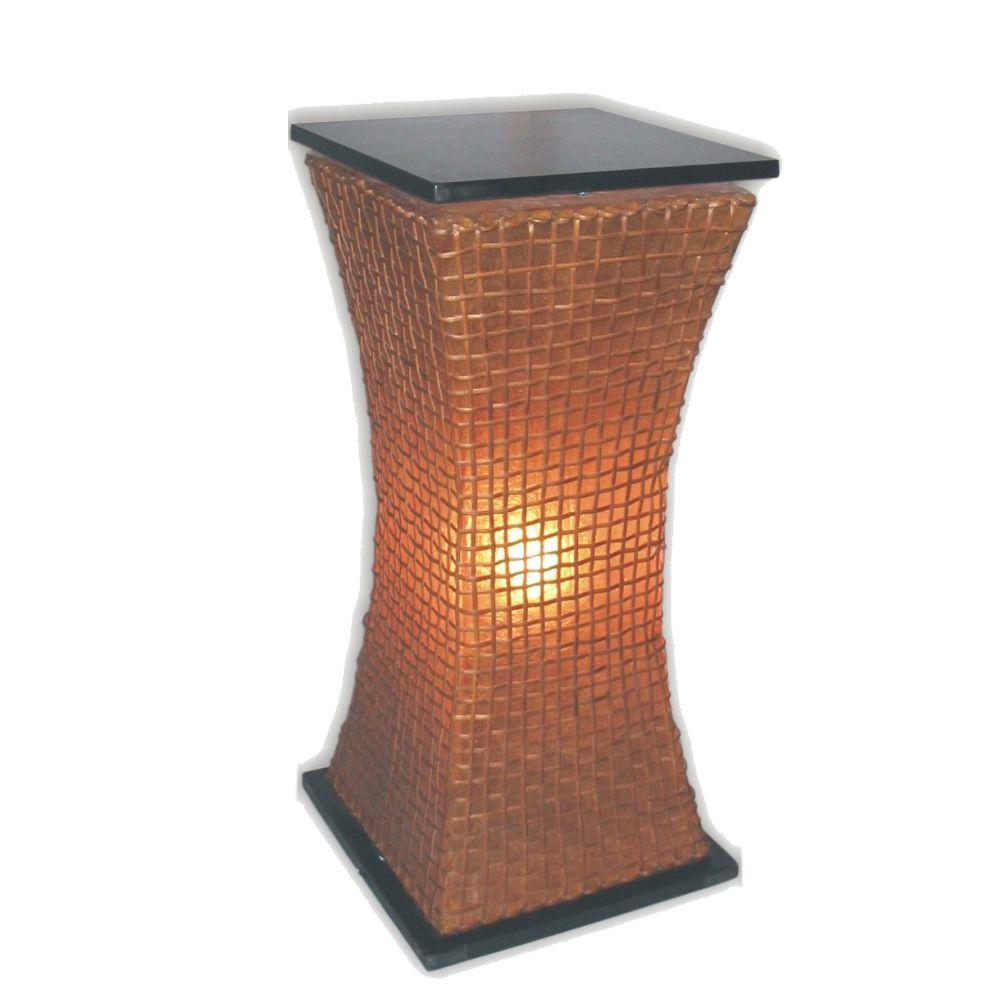 Jeffan Modern Curves 33 in. Pedestal Lamp in Amber Fiberglass with Natural Rattan Accent