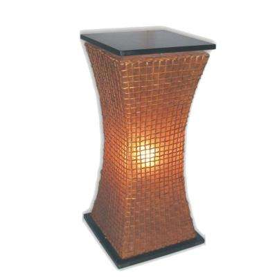 Modern Curves 33 in. Pedestal Lamp in Amber Fiberglass with Natural Rattan Accent
