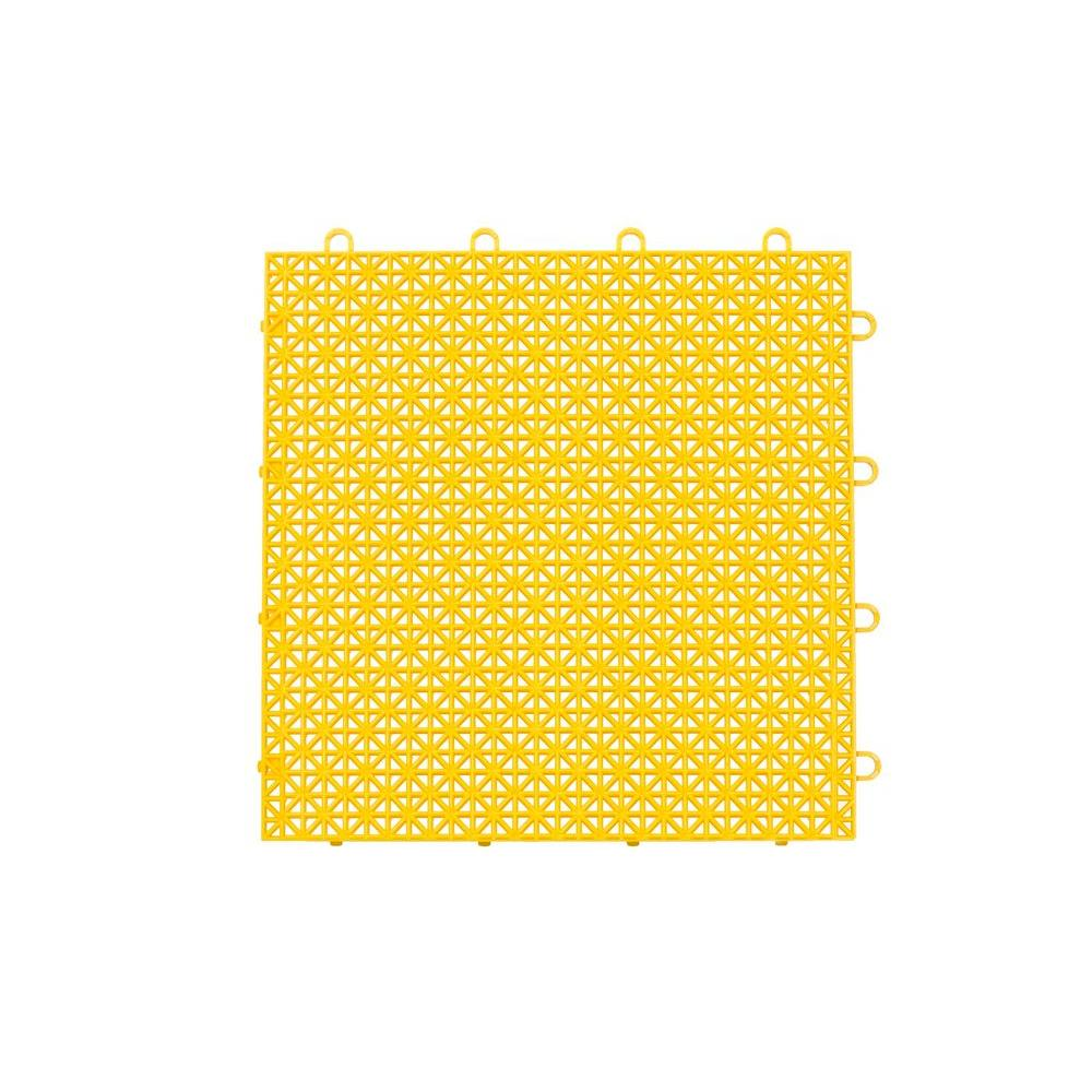 Armadillo Tile Bright Yellow 12 In X Polypropylene Interlocking Multipurpose Floor 9 Pack