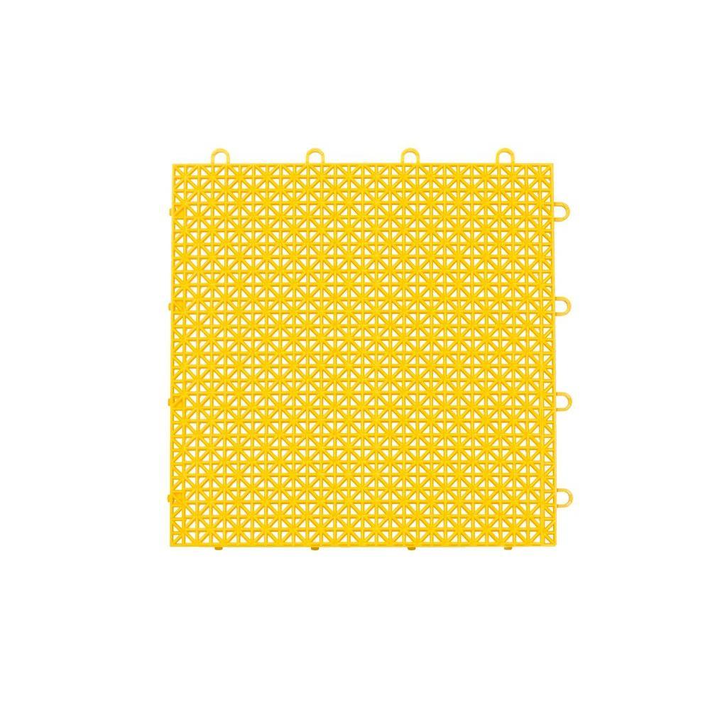 Armadillo Tile Bright Yellow 12 in. x 12 in. Polypropylene Interlocking Multipurpose Floor Tile (9-Pack)