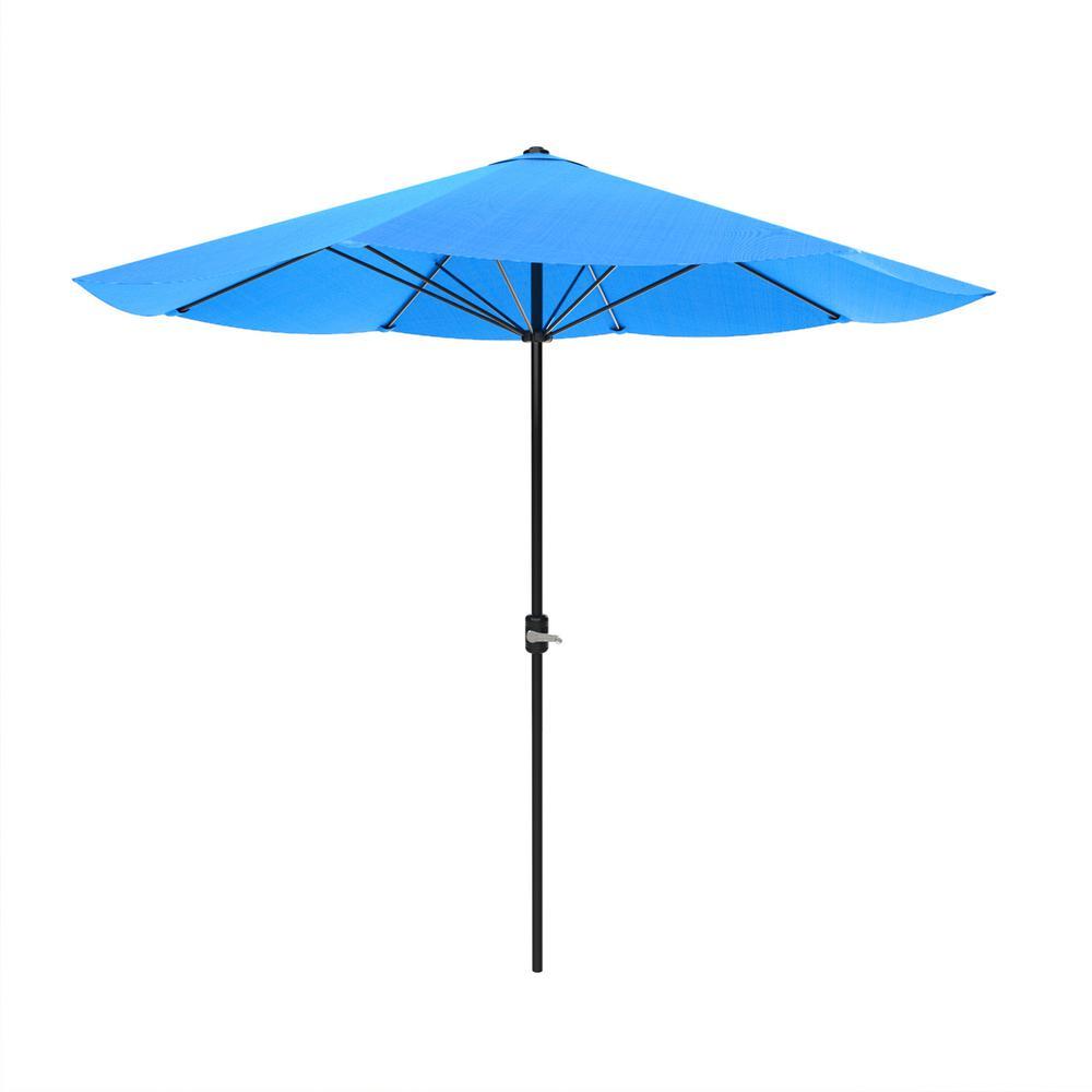 9 ft. Aluminum Auto Crank Patio Market Umbrella in Brilliant Blue