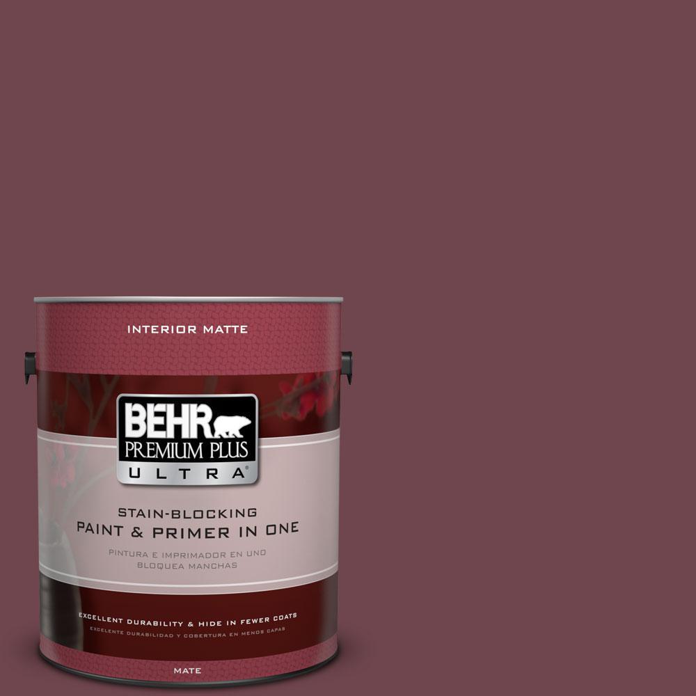 BEHR Premium Plus Ultra 1 gal. #PPU1-14 Formal Maroon Flat/Matte Interior Paint