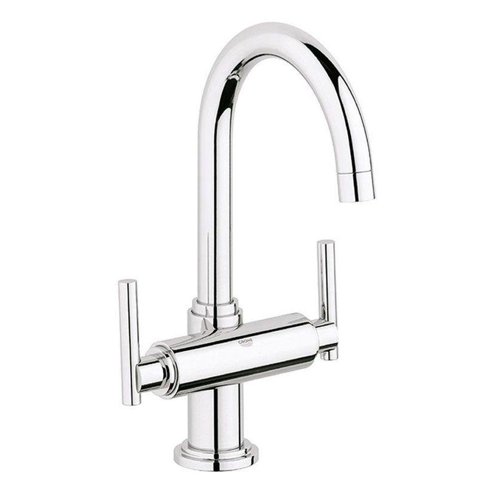 Grohe atrio single hole 2 handle high arc bathroom faucet for Bathroom faucets for less