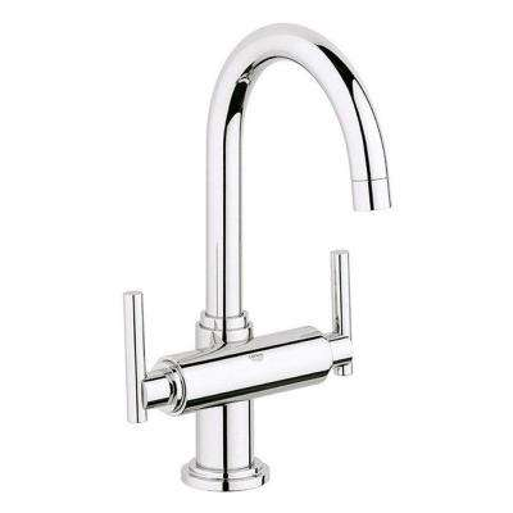 Atrio Single Hole 2-Handle High-Arc Bathroom Faucet in Starlight Chrome Less Handles