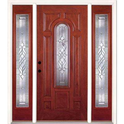 67.5 in.x81.625in.Lakewood Zinc Center Arch Lt Stained Cherry Mahogany Rt-Hd Fiberglass Prehung Front Door w/ Sidelites