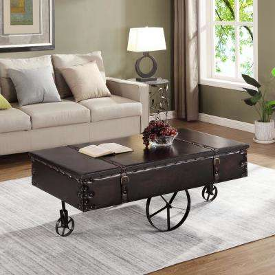 45 in. Vintage Cart Antique Black Coffee Table