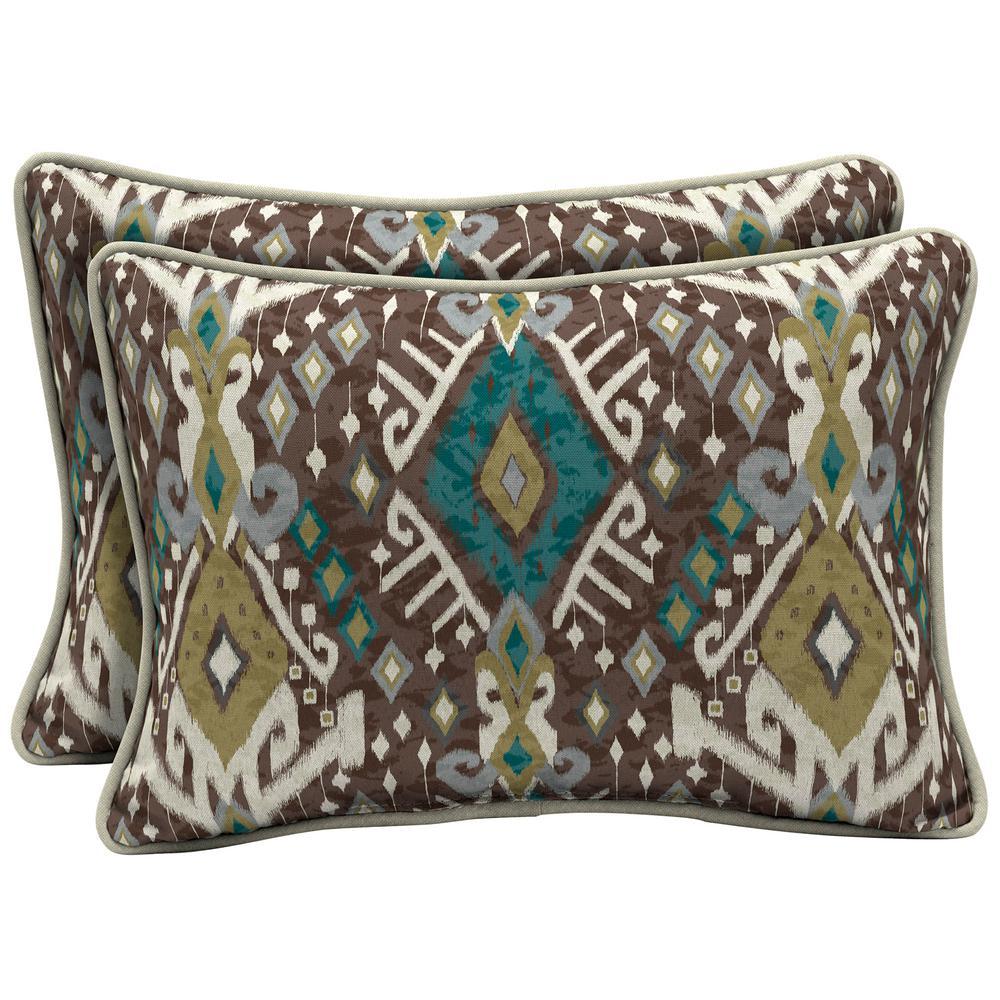 Arden Selections 22 x 15 Tenganan Reversible Oversized Lumbar Outdoor Throw Pillow (2-Pack)