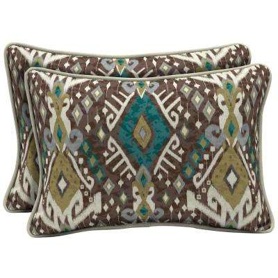 22 x 15 Tenganan Reversible Oversized Lumbar Outdoor Throw Pillow (2-Pack)
