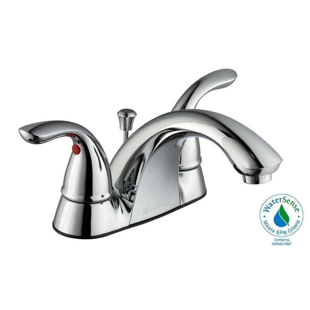 Centerset 2 Handle Low Arc Bathroom Faucet In Chrome