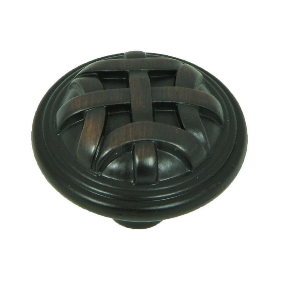 Cross Flory 1-1/4 in. Oil Rubbed Bronze Round Cabinet Knob