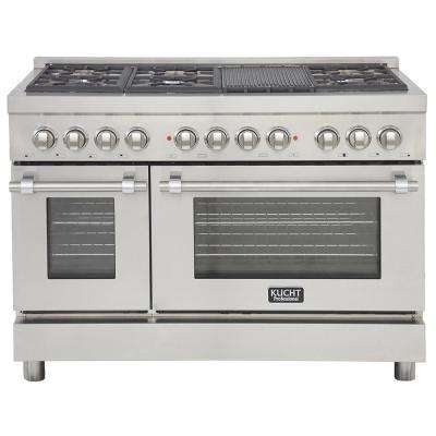 Professional 48 in. 6.7 cu. ft. Double Oven Dual Fuel Range Propane Ready (LP) and Convection Oven in Classic Silver