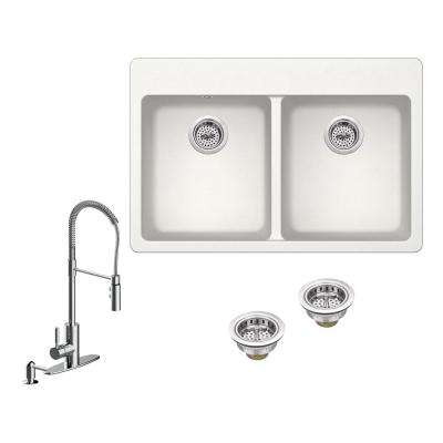All-in-One Drop-in Granite Composite 33 in. 4-Hole 50/50 Double Bowl Kitchen Sink in White with Faucet in Chrome