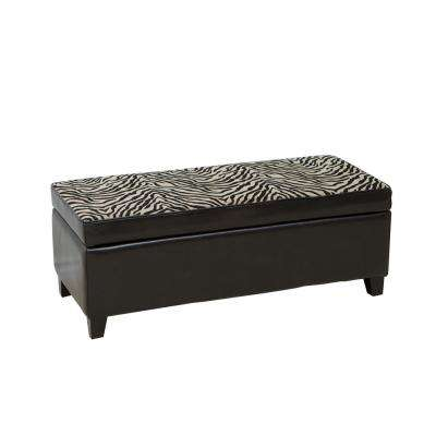 Espresso Brown Bonded Leather Storage Ottoman with Zebra-Patterned Fabric Top