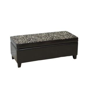 Astonishing Espresso Brown Bonded Leather Storage Ottoman With Zebra Patterned Fabric Top Evergreenethics Interior Chair Design Evergreenethicsorg