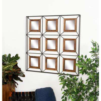 9- Panel Stained Brown Decorative Mirror