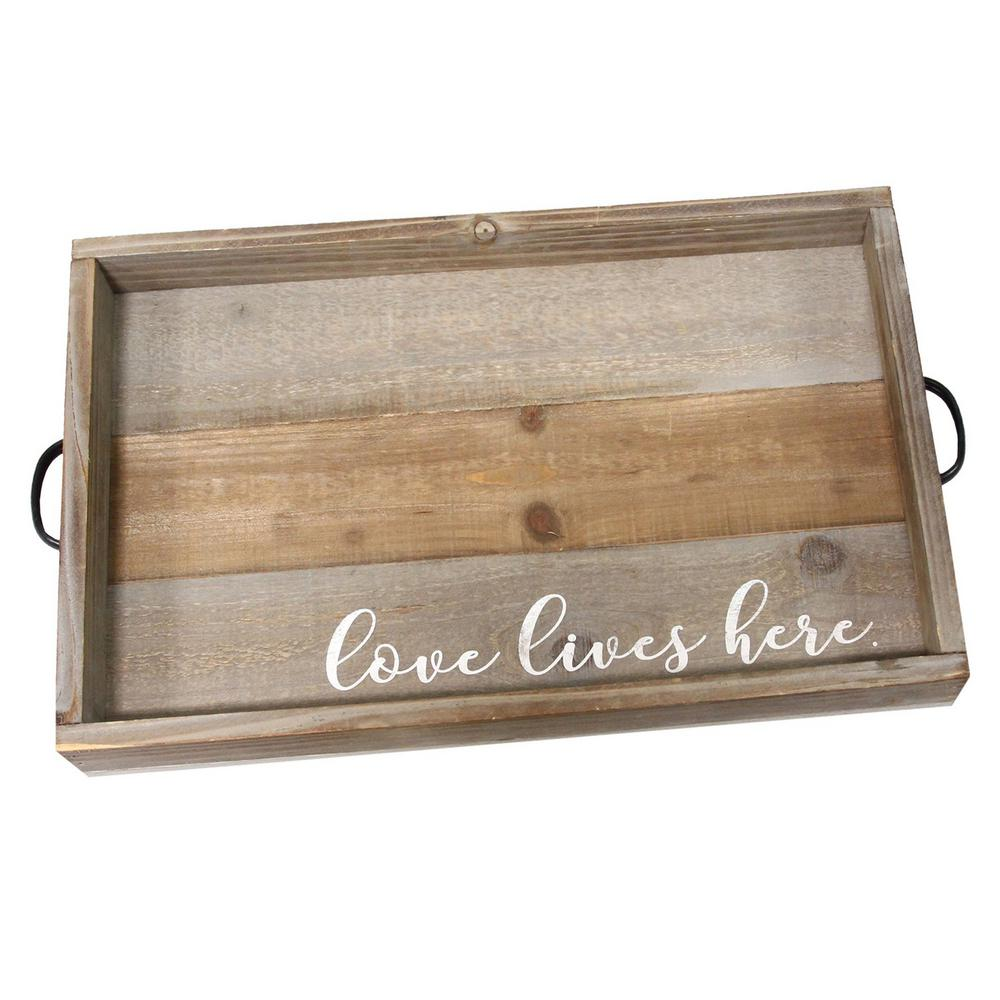 """StrattonHomeDecor Stratton Home Decor """"Love Lives Here""""Wood Tray, Distressed Natural"""