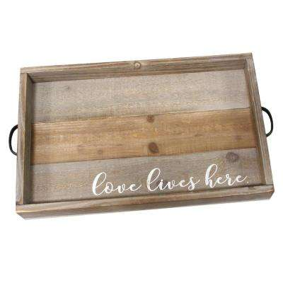 """Love Lives Here"" Wood Tray"