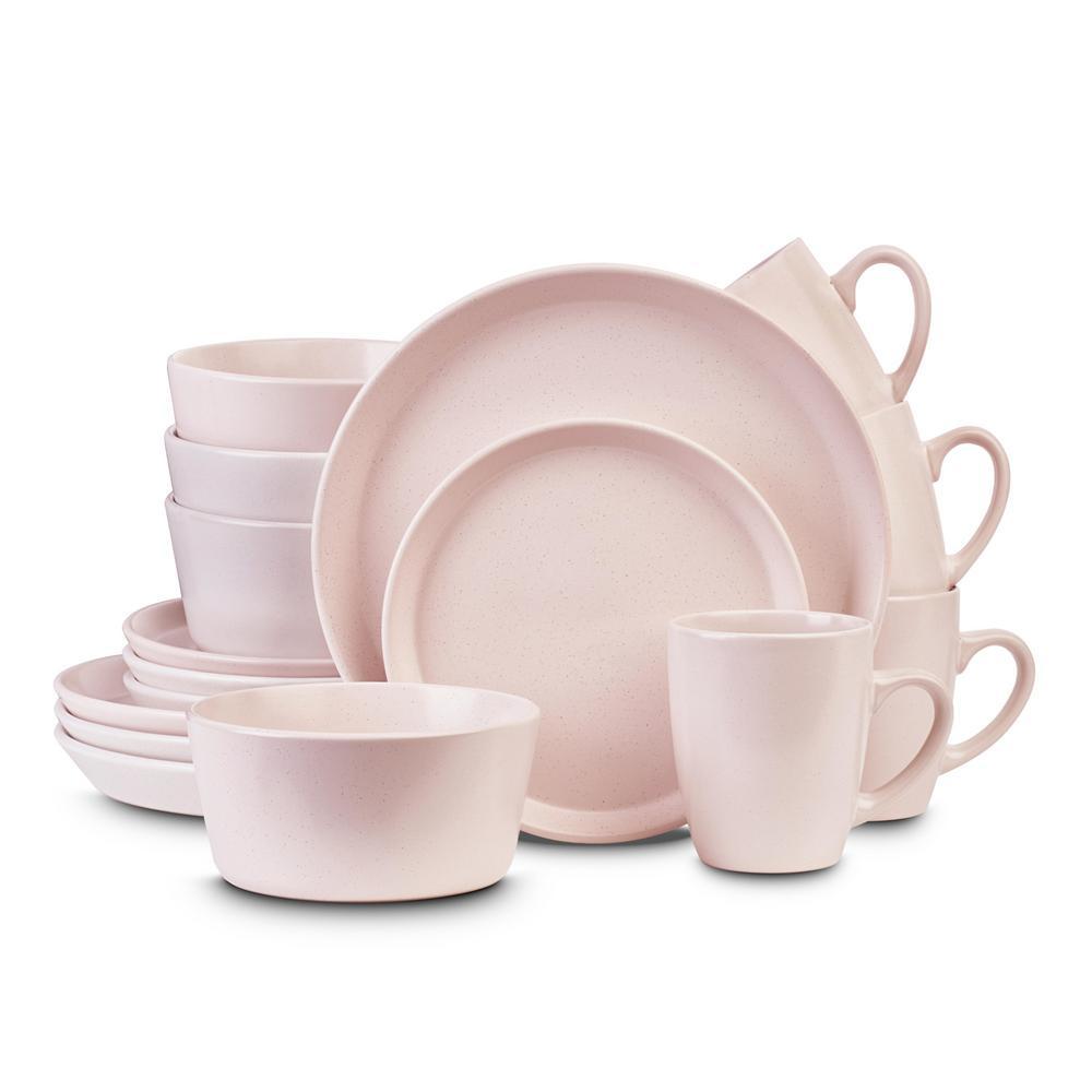 32-Piece Casual Pink Stoneware Dinnerware Set (Set for 8)