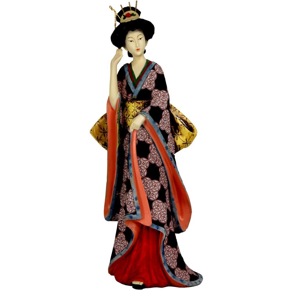 Oriental Furniture 14 in. Geisha with Ivory Flower Sash Decorative Statue