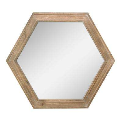 Hexagon Natural Wood Decorative Wall Mirror
