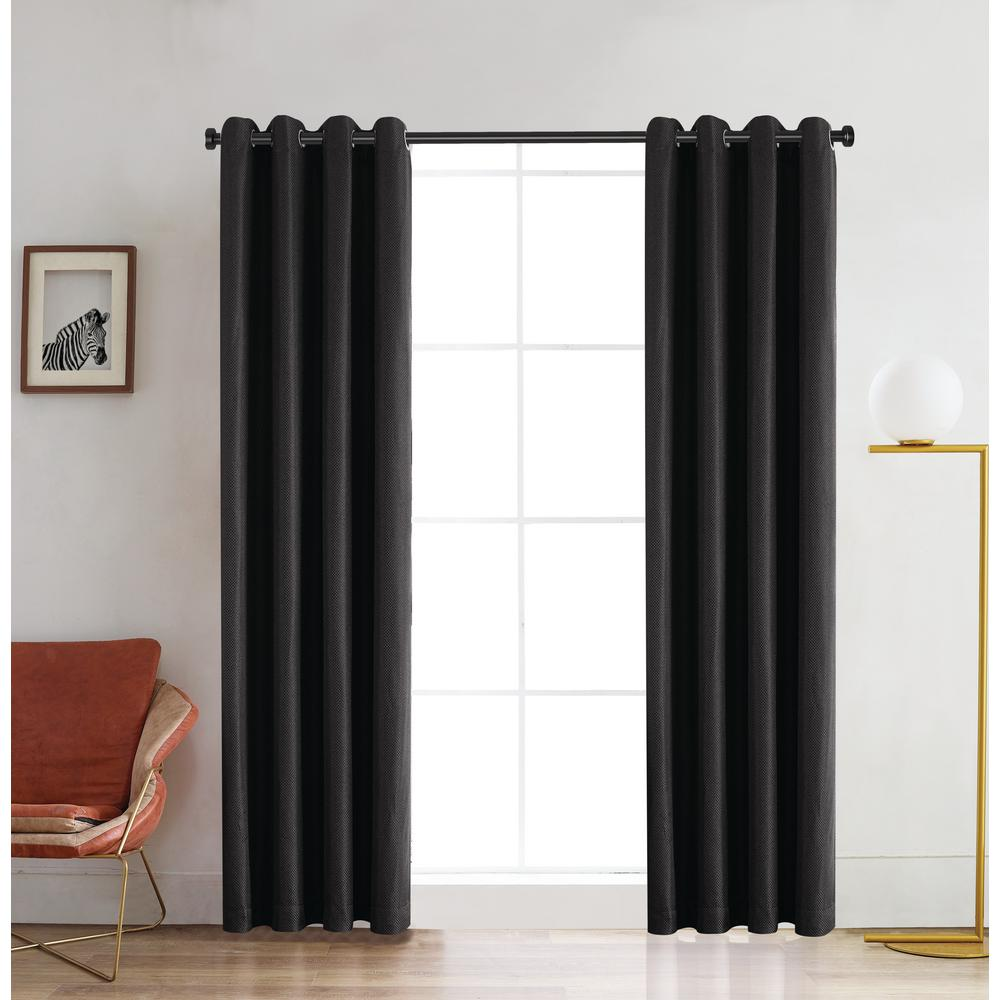 Lyndale Decor Venus 126 in. L x 52 in. W Blackout Polyester Curtain in Charcoal